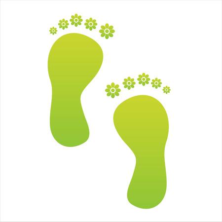 foot step: passo di piedi floreale verde