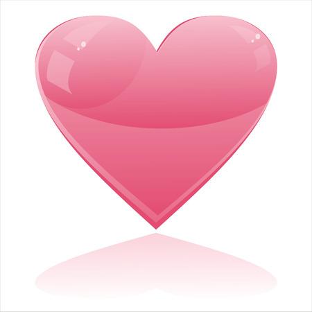 corazon rosa: coraz�n brillante aislado en blanco Vectores
