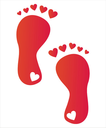 foot steps with hearts Illustration