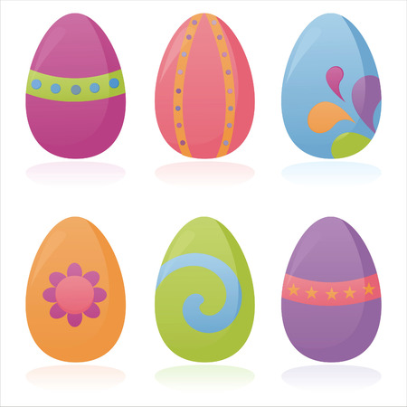 set of 4 colorful easter eggs