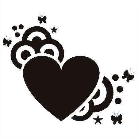 stylish heart isolated on white Illustration