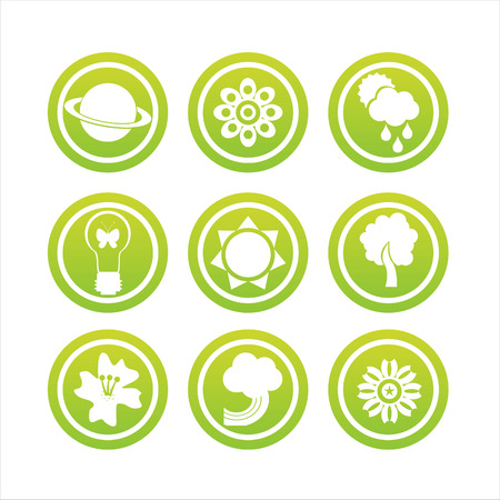set of 9 green nature signs Stock Vector - 8709348
