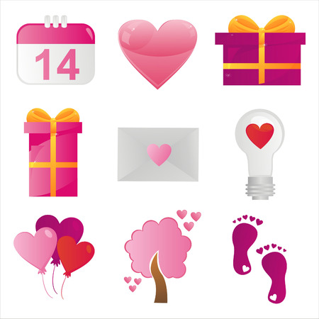 february 14th: set of 9 st. valentines day icons