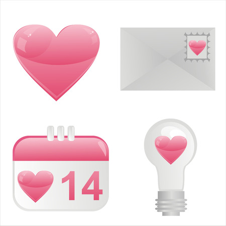 pink lamp: set of 4 st. valentines day icons