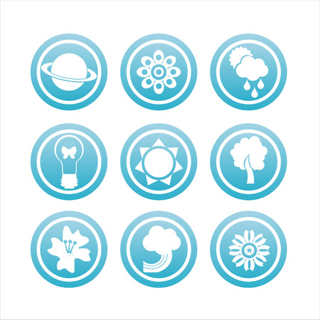 set of 9 blue nature signs Stock Vector - 8755844