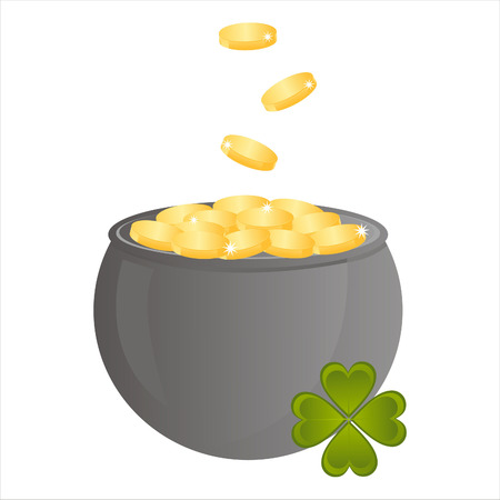 st. patrick's day pot of golden coins Stock Vector - 8755889
