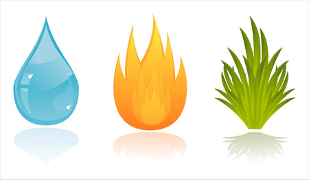 set of 3 nature elements Vector