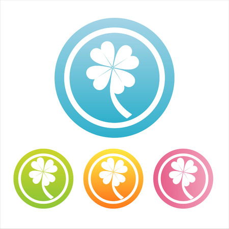set of 4 colorful clover signs Stock Vector - 8755878