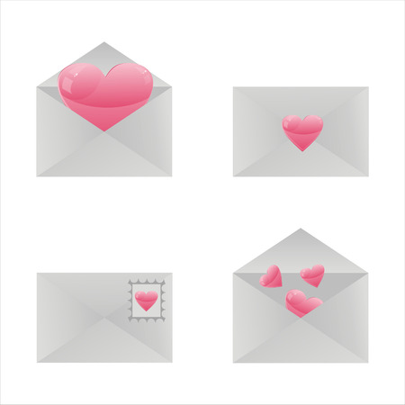 set of 4 love letter icons Vector
