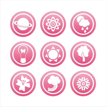 set of 9 pink nature icons Stock Vector - 8755914