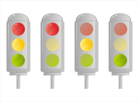 set of 4 traffic lights Vector