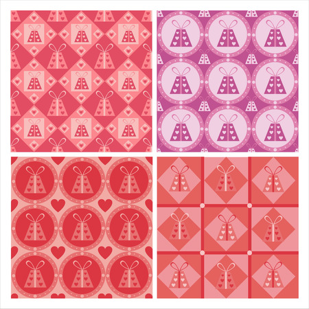 february 14th: set of 4 cute st. valentines day presents patterns Illustration