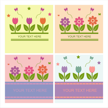 set of 4 cute spring backgrounds Vector