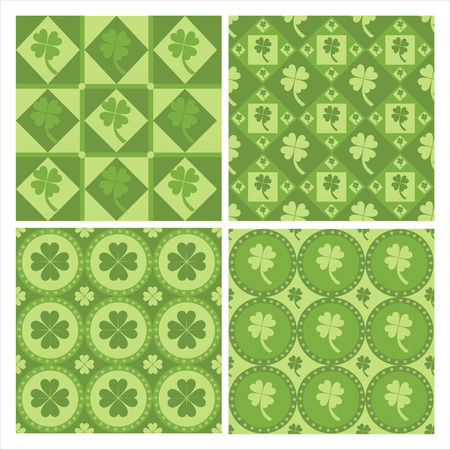 set of 4 cute clover patterns Stock Vector - 8777894