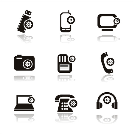set of 9 setting in technology icons Vector