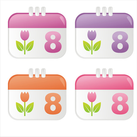 8th of March calendar icons Vector