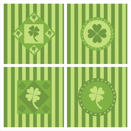 set of 4 cute clover backgrounds Stock Vector - 8794306