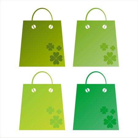 set of 4 st. patricks day shopping bags Vector