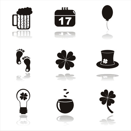set of 9 black st. patricks day icons Vector