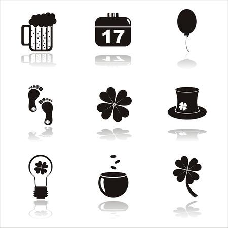 set of 9 black st. patricks day icons Vector