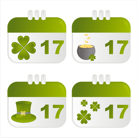 set of 4 st. patrick's day calendar icons Stock Vector - 8794311