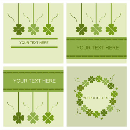 set of 4 cute st. patrick's day cards Stock Vector - 8810121