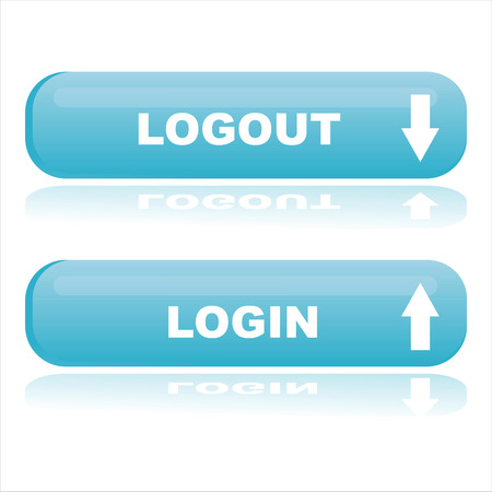 logout: blue web buttons login and logout Illustration
