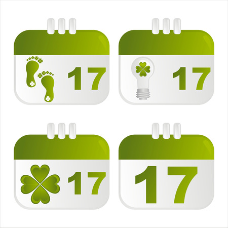 set of 4 st. patrick's day calendar icons Stock Vector - 8848641