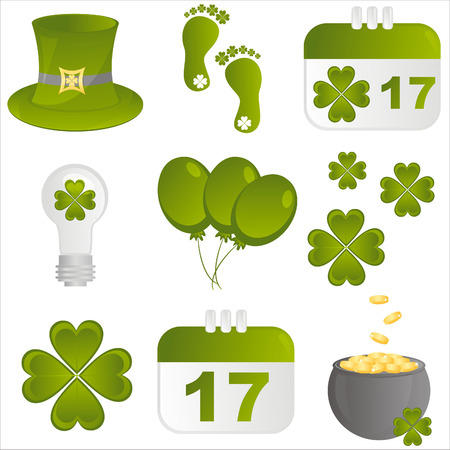 set of 9 st. patricks day icons Vector
