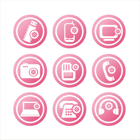 set of 9 setting in technology signs Vector