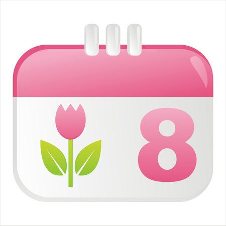 icono de calendario: 8 de icono de calendario de marzo Vectores