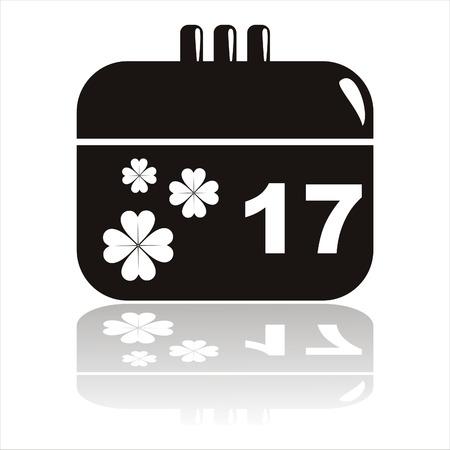 black st. patrick's day calendar icon Stock Vector - 8854983