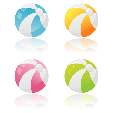 set of 4 colorful beach balls