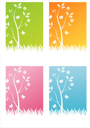 set of 4 colorful nature backgrounds Vector
