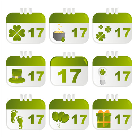 set of 9 st. patrick's day calendar icons Stock Vector - 8855010
