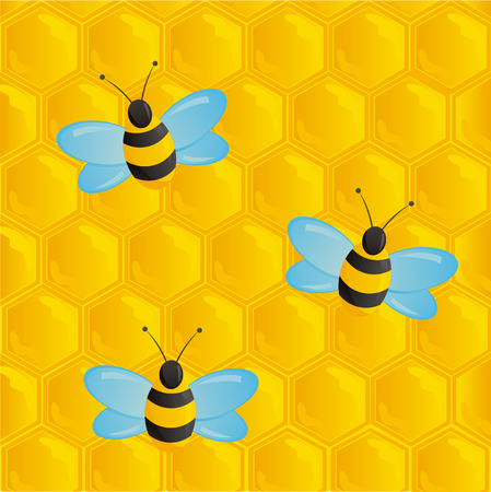 honeycombs texture with bees Vector