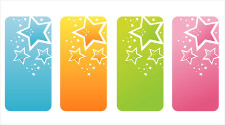 set of 4 colorful star banners