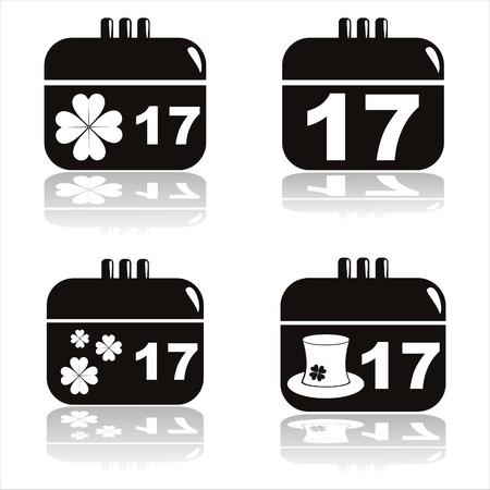 set of 4 black st. patrick's day calendar icons Stock Vector - 8906618