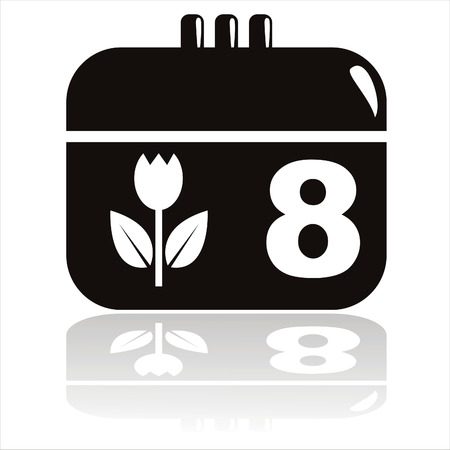 black 8th of march calendar icon Vector