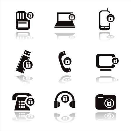 set of 9 technology with locks icons Vector