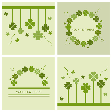 set of 4 cute st. patricks day cards Vector