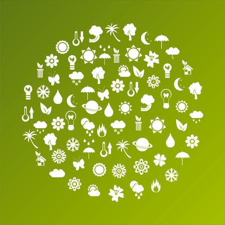 incendio casa: planeta ecol�gica de iconos Vectores