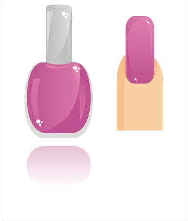 finger nails: glossy nail polish isolated on white Illustration