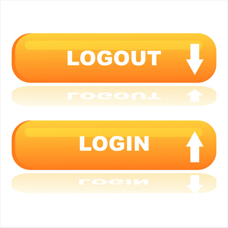 orange web buttons login and logout Vector