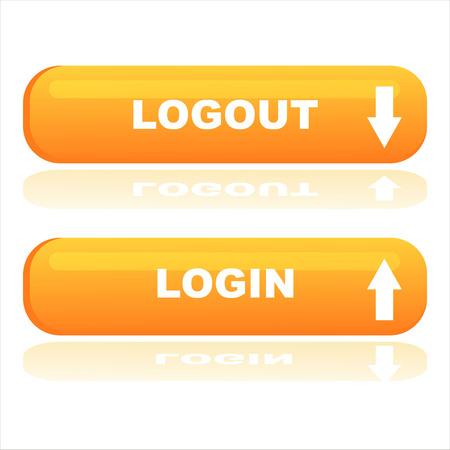 logout: orange web buttons login and logout