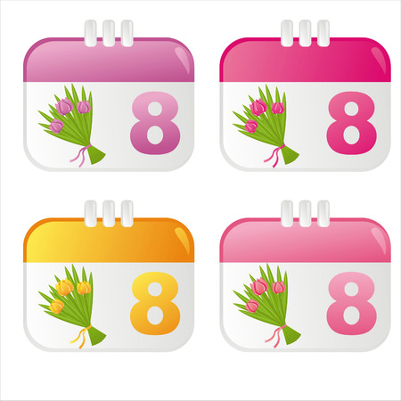 set of 4 colorful 8th of March icons Vector