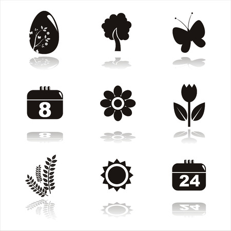 set of 9 black spring icons Illustration