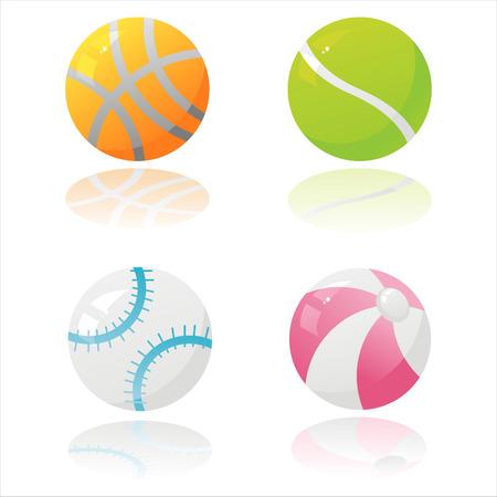 set of 4 glossy sport balls Vector