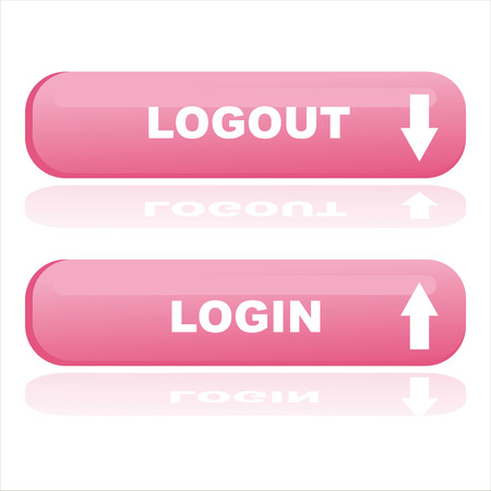 logout: pink web buttons login and logout