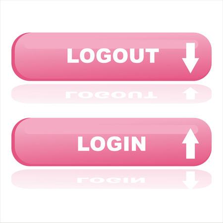 logout: pink web buttons login and logout